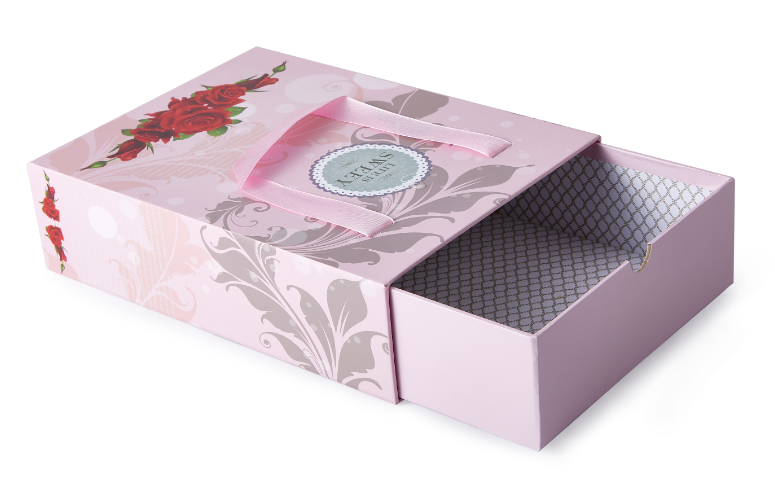 Rectangle paper gift Box paperboard gift package box with ribbon handle