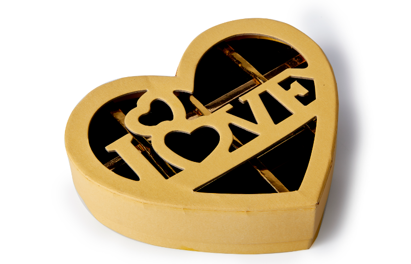 Heart shape chocolate gift Box with die cut LOVE  type wholesale