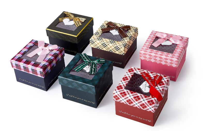 Rectangle gift box small paper gift box with ribbon bow tie paper package box